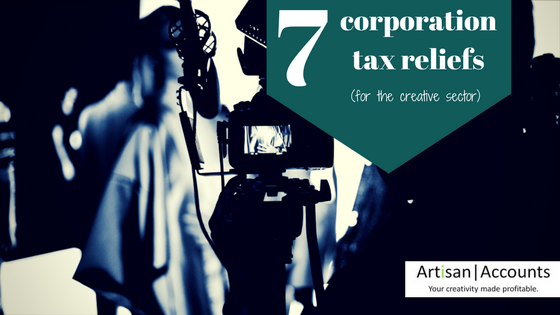 Blurred image of a camera recording actors at work and the title, 7 corporation Tax reliefs (for the creative sector)