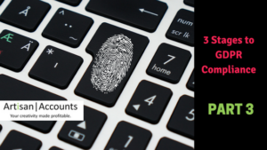 Graphic image of a thumbprint on a keyboard, with the blog title - 3 Stages to GDPR Compliance, Part 3