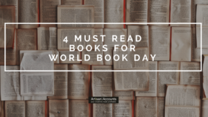 Image of lots of open books laid flat overlapping each other and the title 4 Must Read Books for World Book Day overlaid