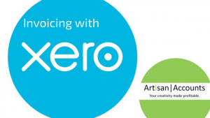 image of Xero logo and Artisan Accounts logo with the message invoicing with Xero