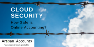 "Blue sky with white fluffy cloud behind barbed wire. Headline says ""Cloud Security - How safe is online accounting?"""