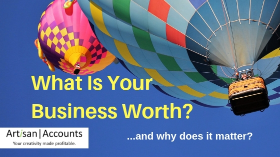 image of hot air balloon in blue sky with words, what is your business worth overllaid