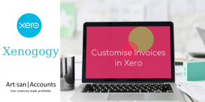 """Image of laptop screen with the words, """"Customise Your Invoices with Xero"""""""