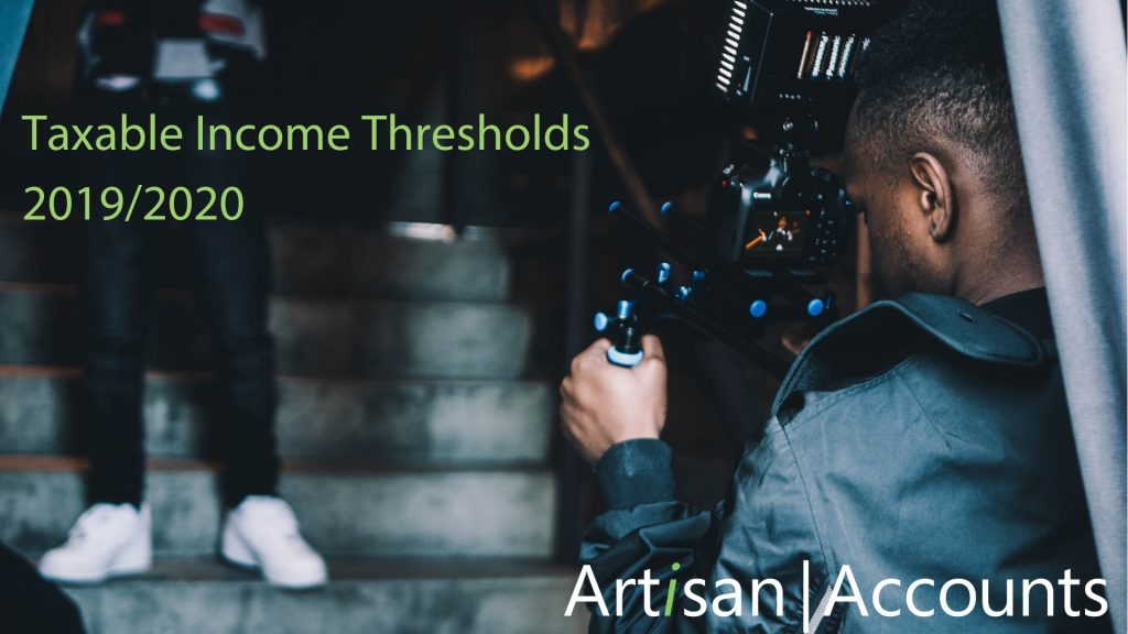 Image of filmmaker with words Taxable Income Thresholds 2019/2020