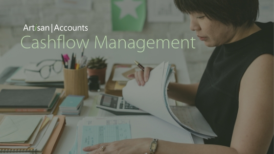Woman checking bills and title Cashflow Management