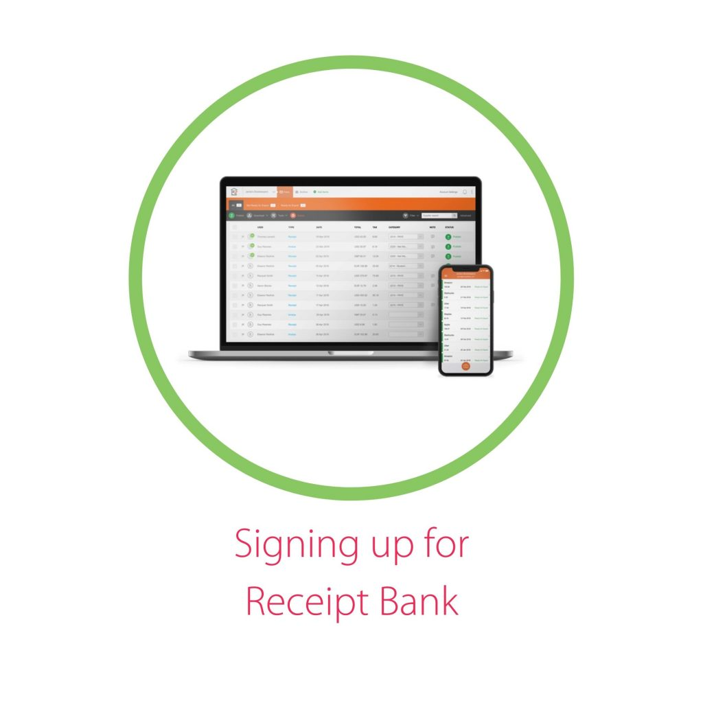receipt bank home page on laptop and mobile phone screens